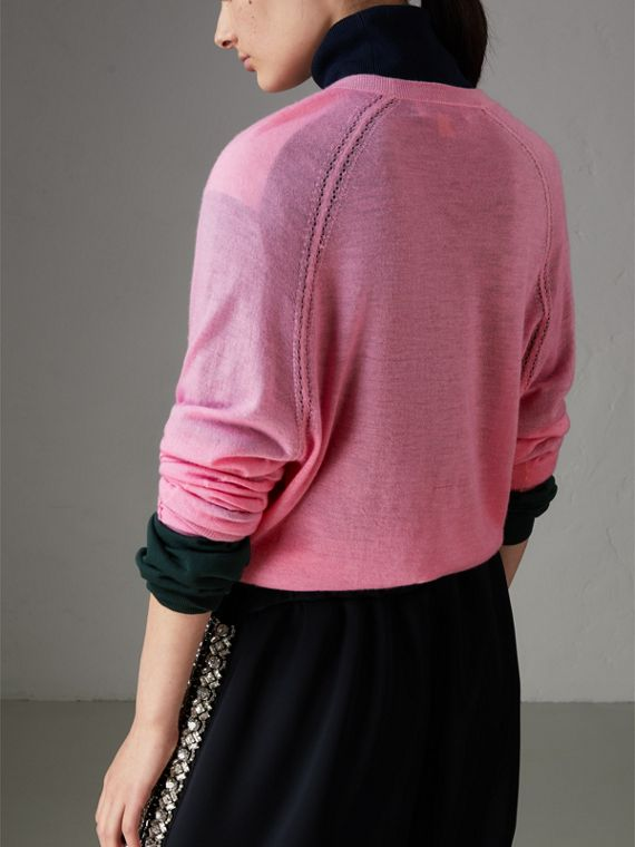 Open-stitch Detail Cashmere Sweater in Dusky Pink - Women | Burberry - cell image 2