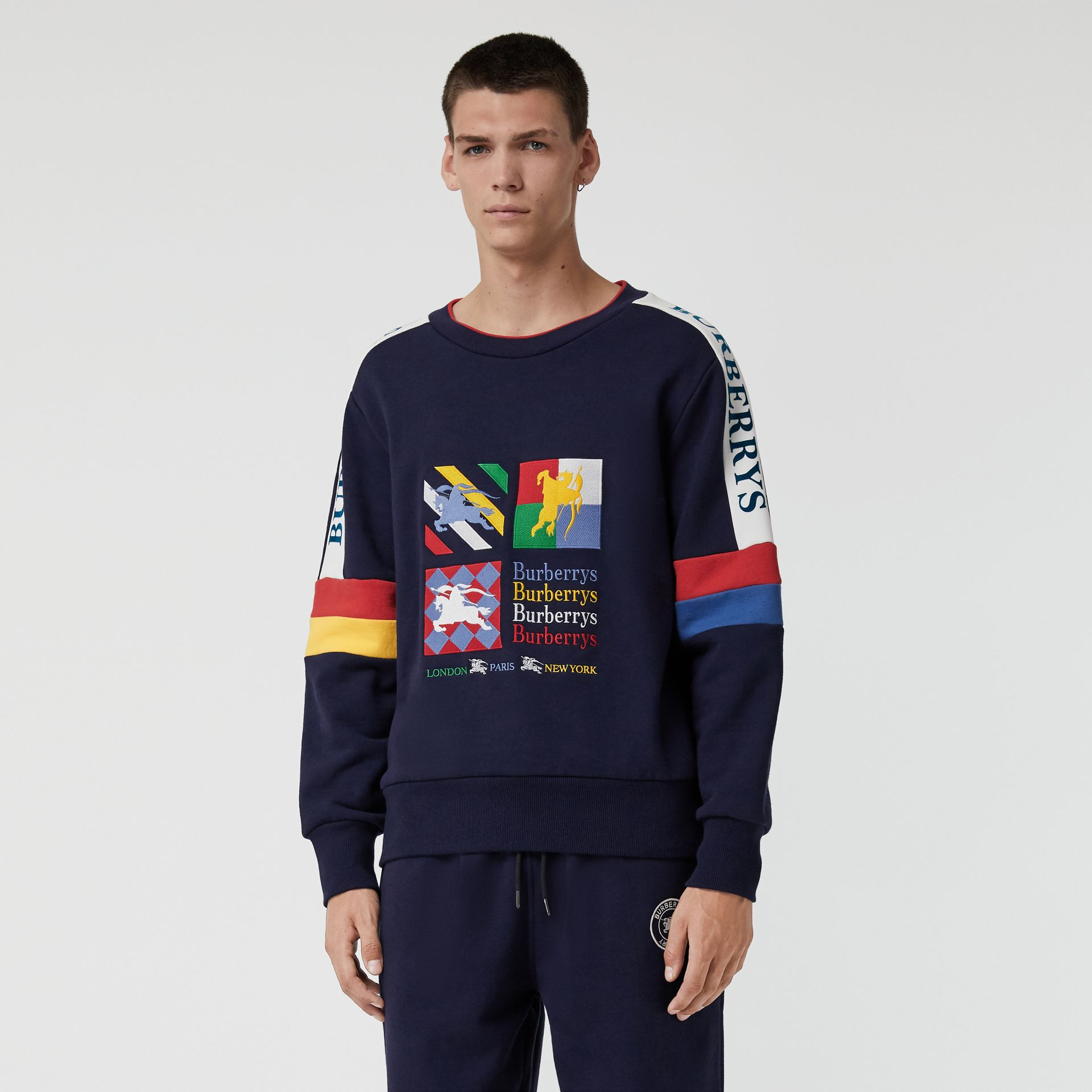 Colour Block Embroidered Archive Logo Sweatshirt in True Navy - Men | Burberry Australia - gallery image 4