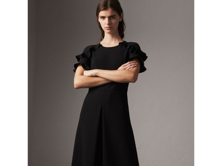 Ruffle Detail Short-sleeve Crepe Dress in Black - Women | Burberry - cell image 4