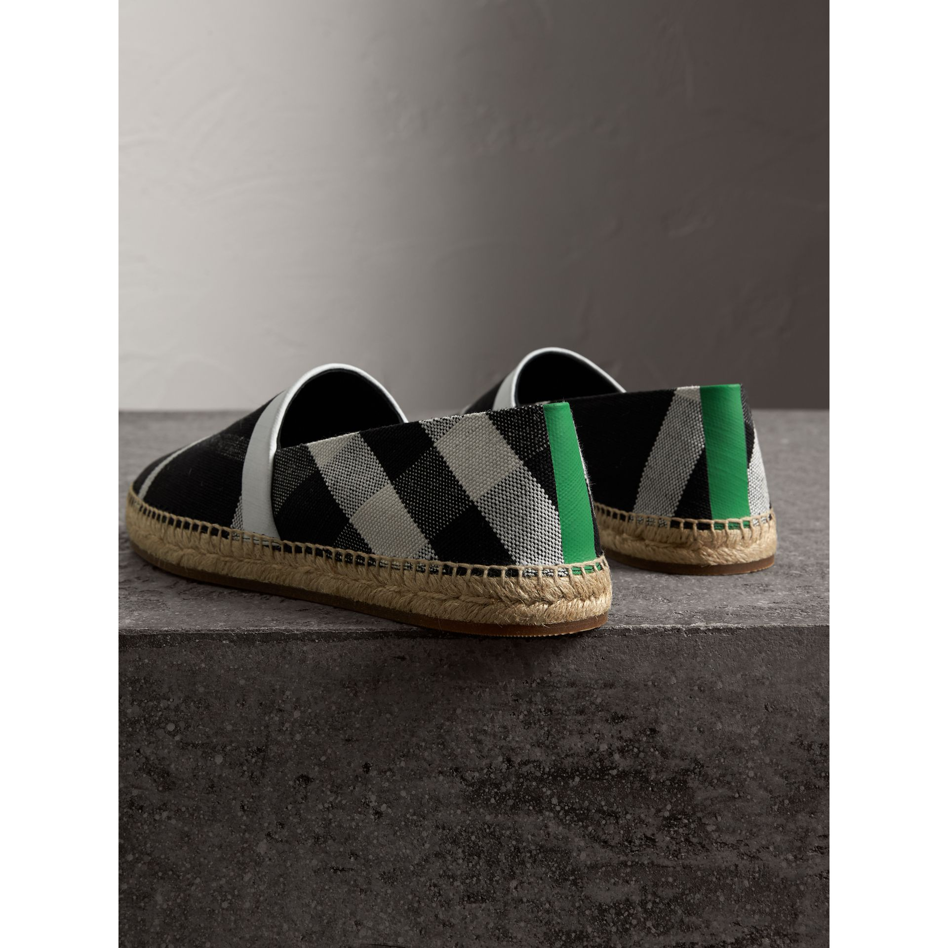 Check Cotton Canvas Seam-sealed Espadrilles in Black - Men | Burberry United Kingdom - gallery image 3