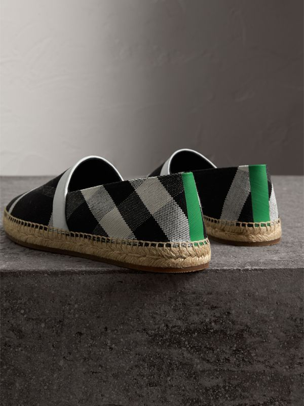 Check Cotton Canvas Seam-sealed Espadrilles in Black - Men | Burberry Canada - cell image 3