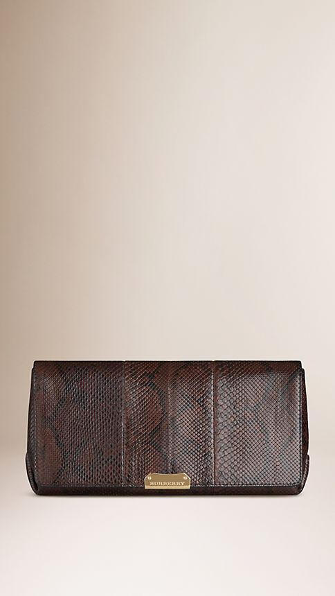 Bitter chocolate Medium Python Clutch Bag - Image 1