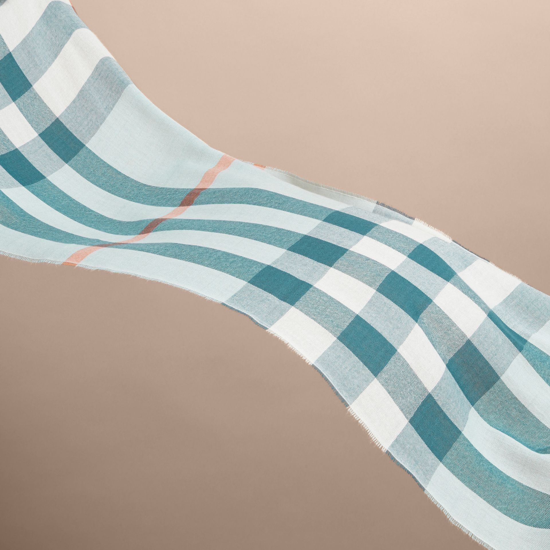 Lightweight Check Wool Cashmere Scarf in Powder Blue | Burberry - gallery image 4