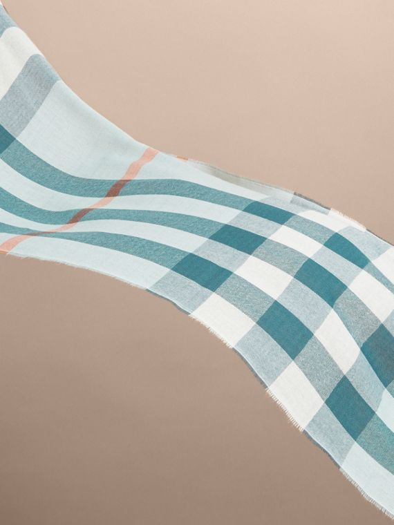 Lightweight Check Wool Cashmere Scarf in Powder Blue | Burberry - cell image 3