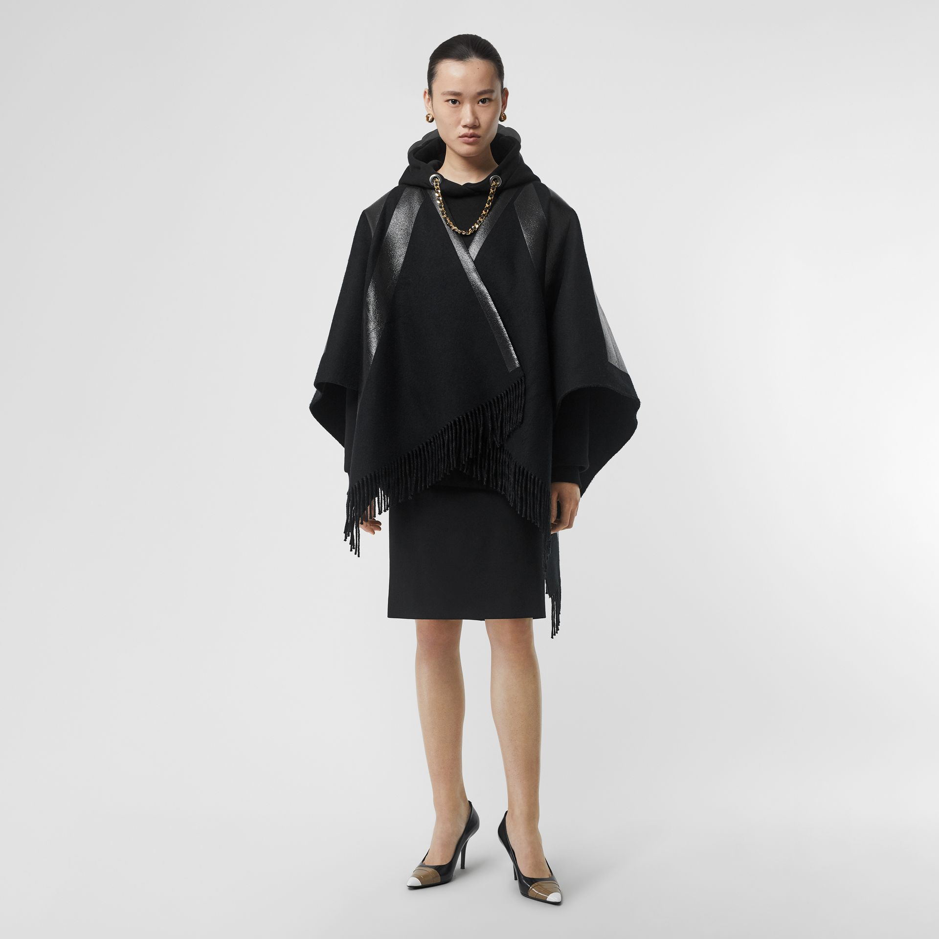 Union Jack Print Wool Cashmere Cape in Black - Women | Burberry - gallery image 0
