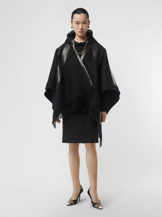 Union Jack Print Wool Cashmere Cape in Black