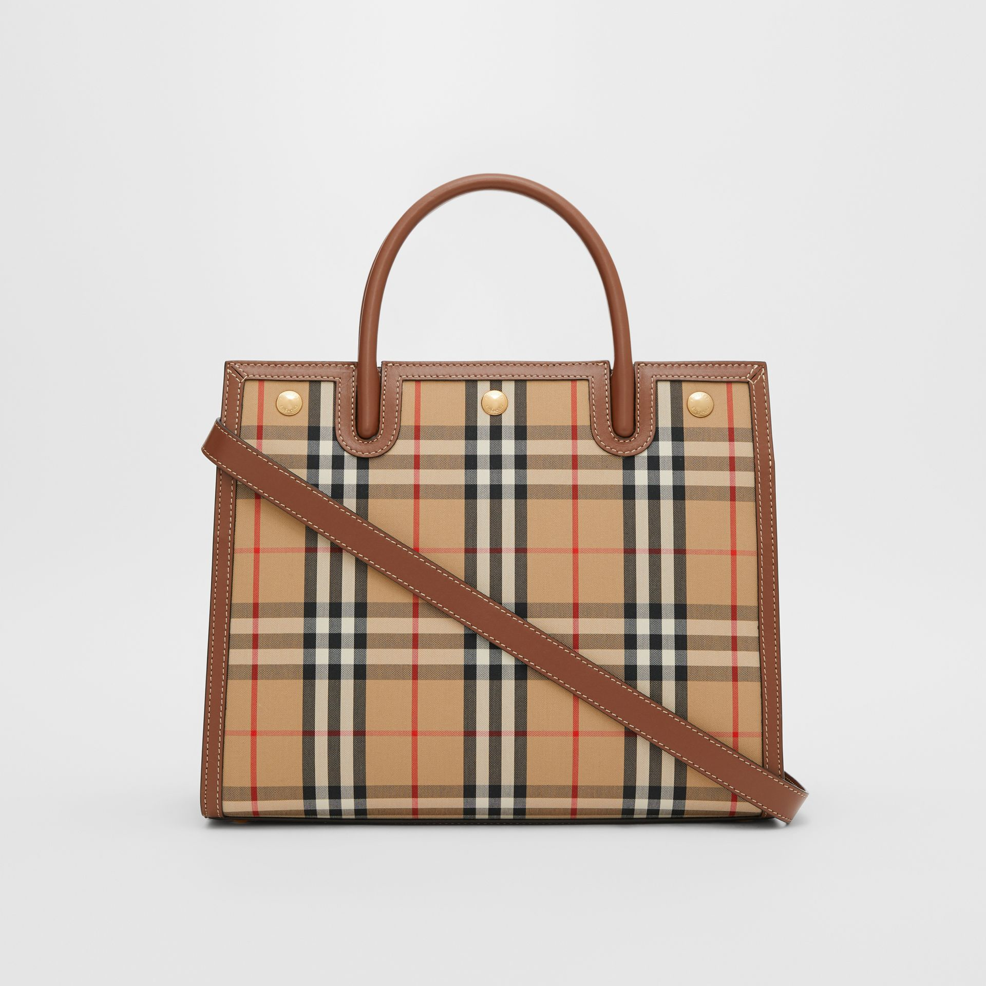 Medium Vintage Check Two-handle Title Bag in Archive Beige - Women | Burberry - gallery image 7