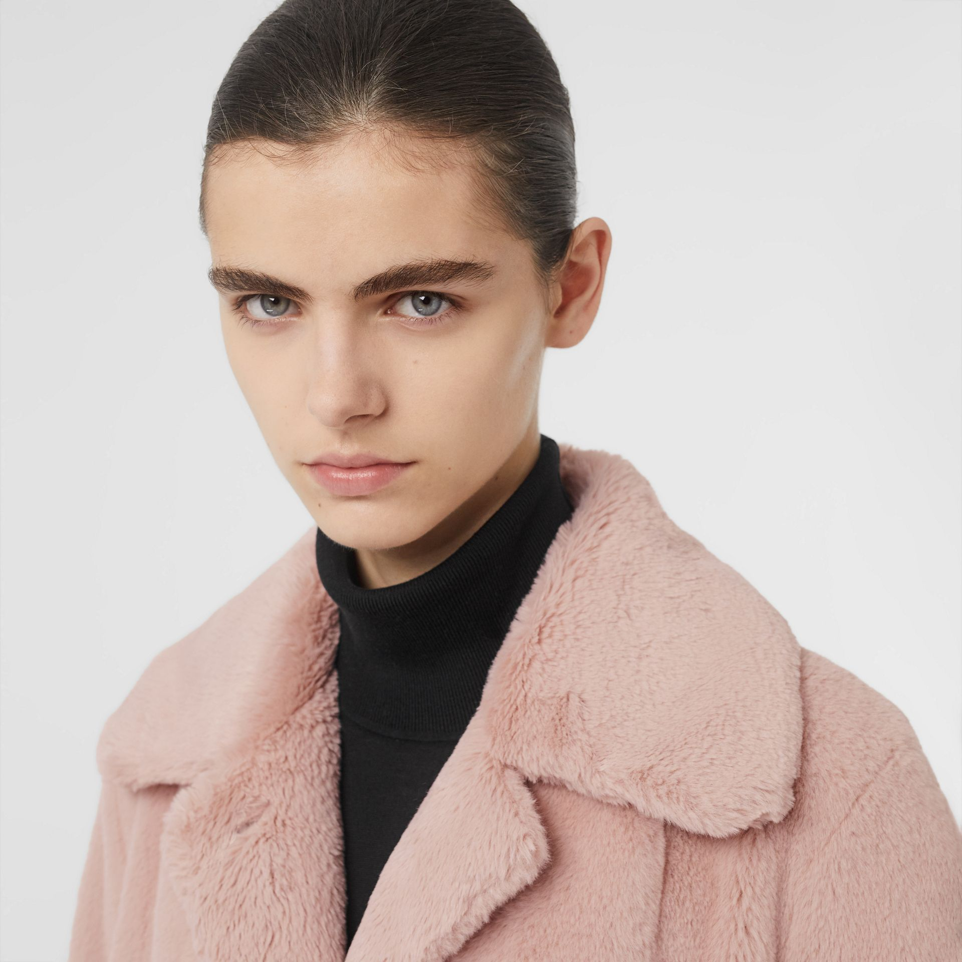 Faux Fur Single-breasted Coat in Pale Blush - Women | Burberry United Kingdom - gallery image 1
