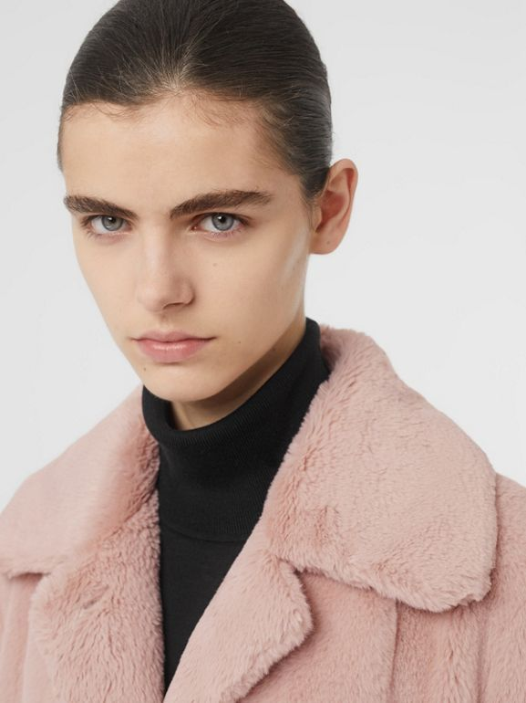 Faux Fur Single-breasted Coat in Pale Blush - Women | Burberry - cell image 1