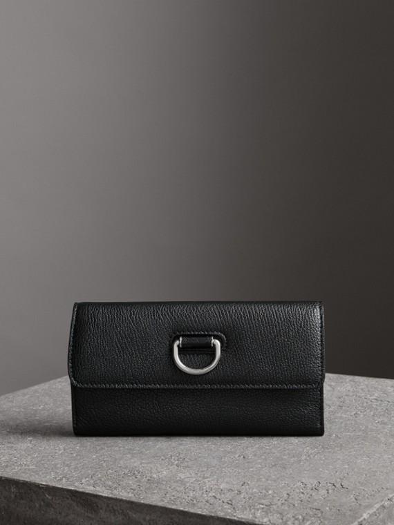 Классический бумажник с декоративным полукольцом (Черный)