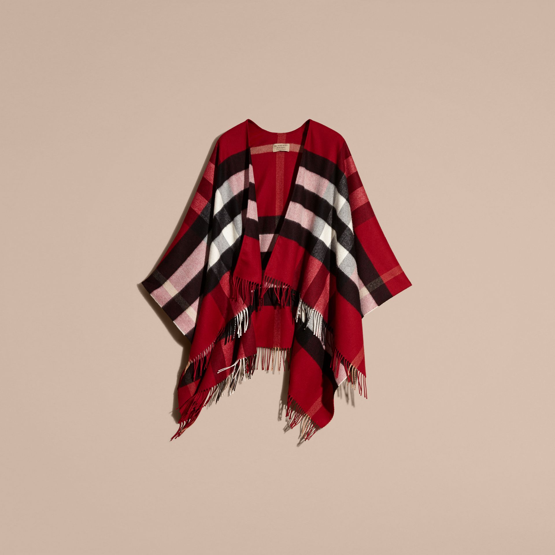 Check Cashmere and Wool Poncho Parade Red - gallery image 4