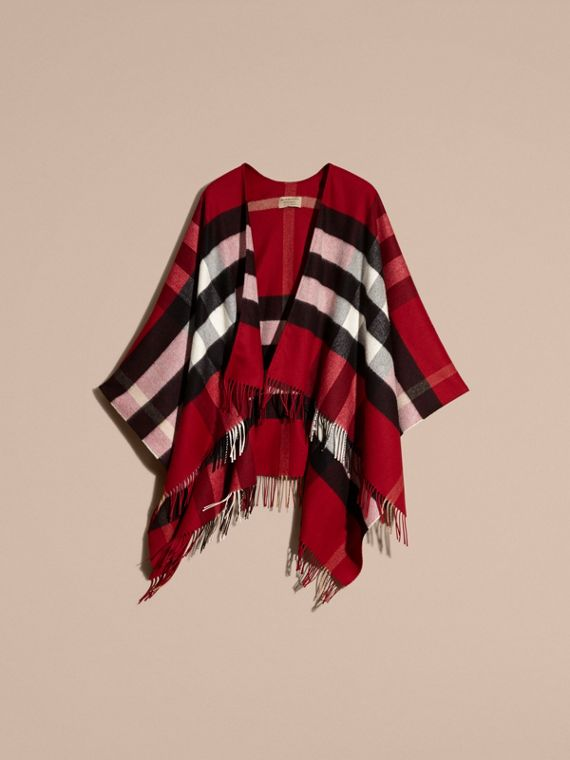 Check Cashmere and Wool Poncho Parade Red - cell image 3