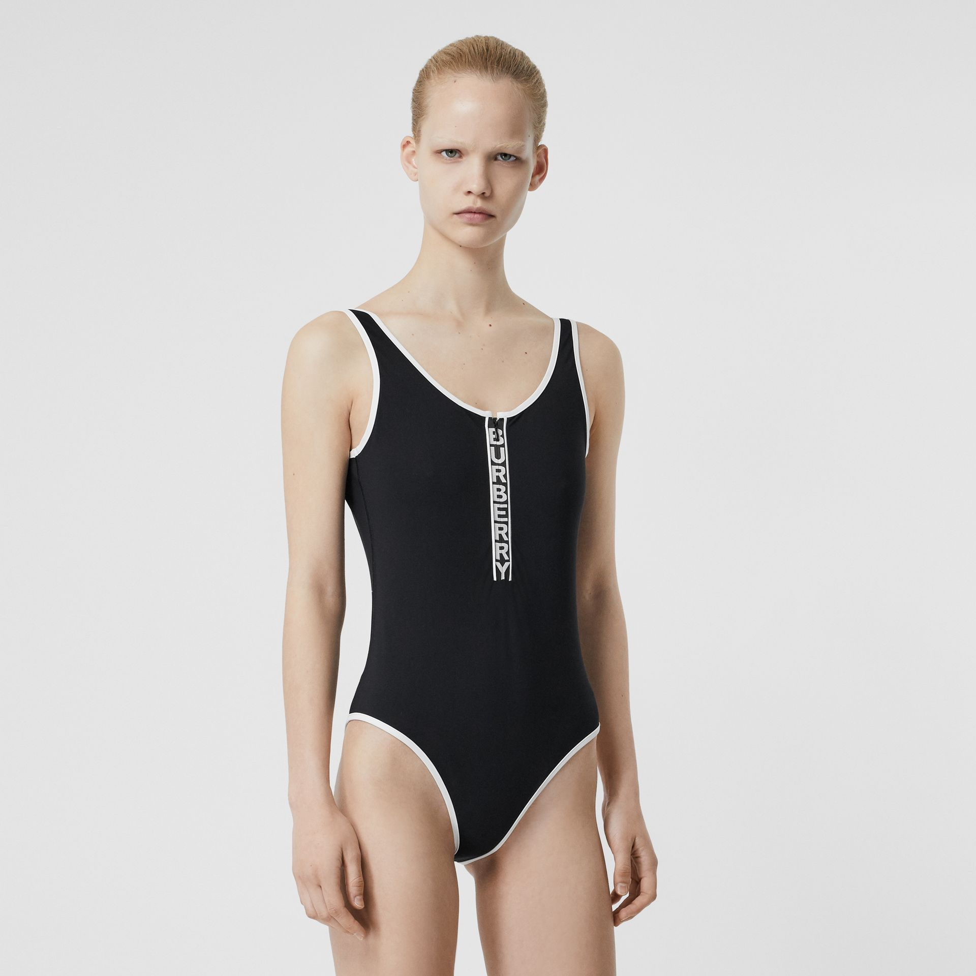 Logo Detail Zip-front Swimsuit in Black - Women | Burberry - gallery image 0