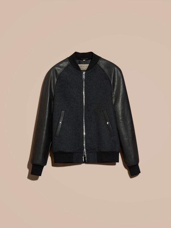 Dark grey melange Wool Cashmere Bomber Jacket with Leather Sleeves - cell image 3