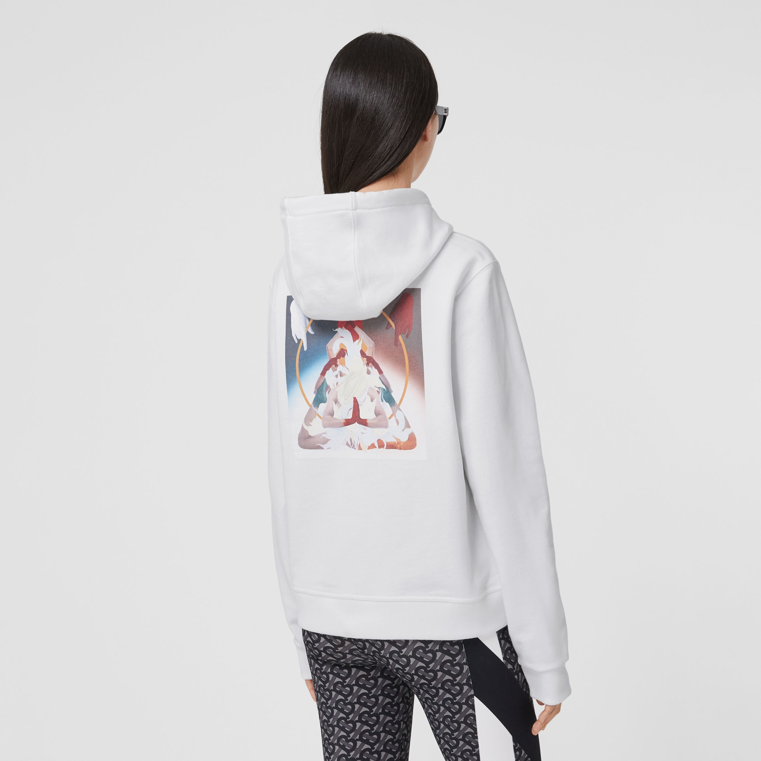 Meditation Print Cotton Oversized Hoodie in White - Women | Burberry - 3
