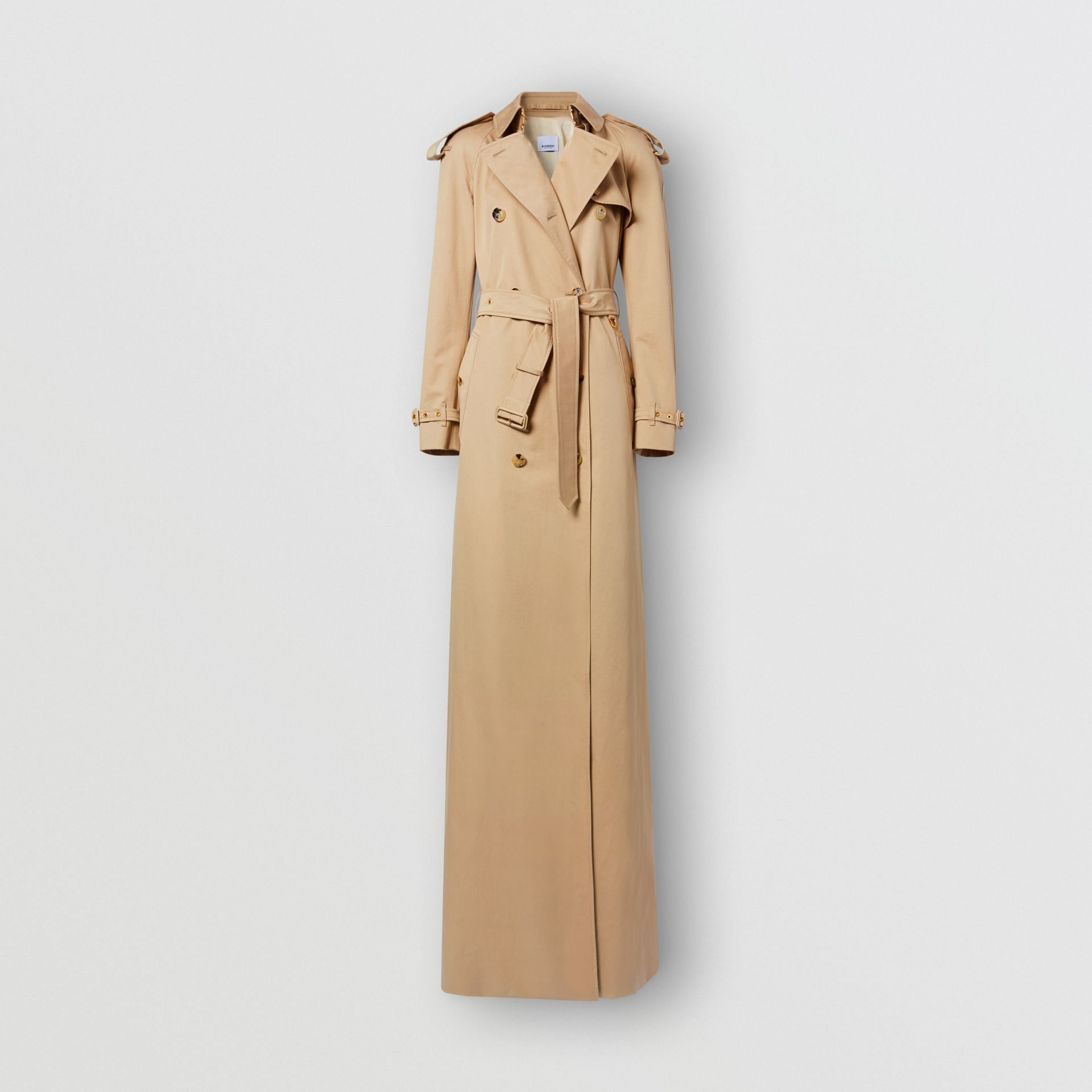 Extra Long Cotton Gabardine Trench Coat in Soft Fawn - Women | Burberry United Kingdom - gallery image 2