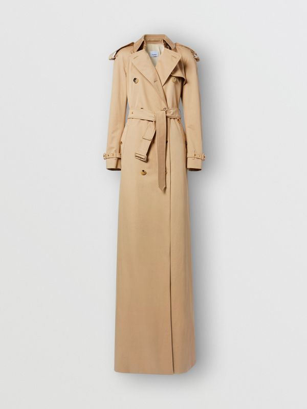 Extra Long Cotton Gabardine Trench Coat in Soft Fawn - Women | Burberry - cell image 2