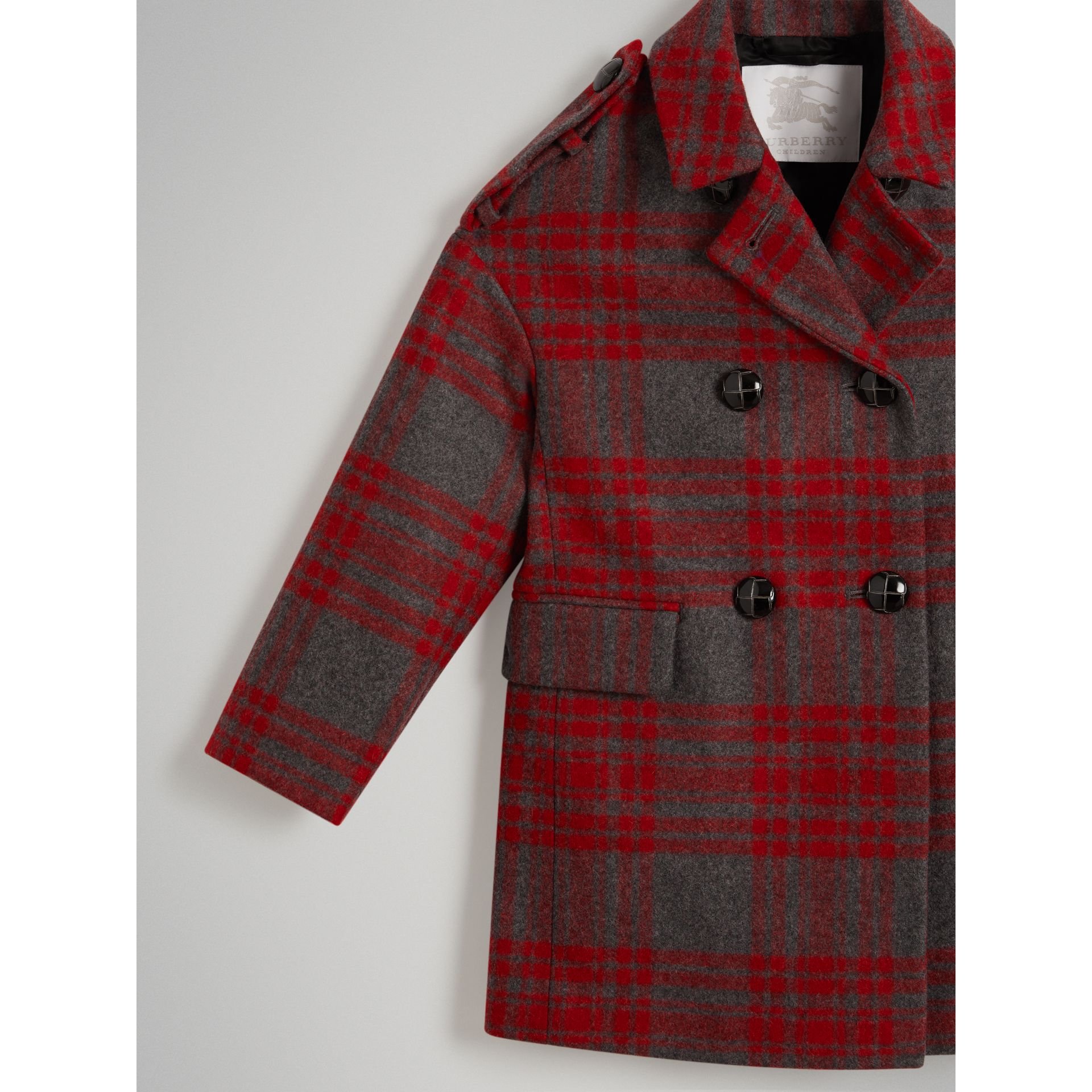 Tartan Wool Tailored Coat in Military Red - Girl | Burberry - gallery image 4