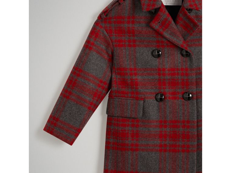 Tartan Wool Tailored Coat in Military Red - Girl | Burberry - cell image 4