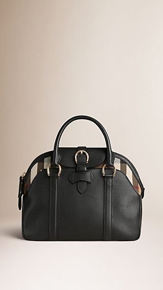 Medium Leather and House Check Bowling Bag