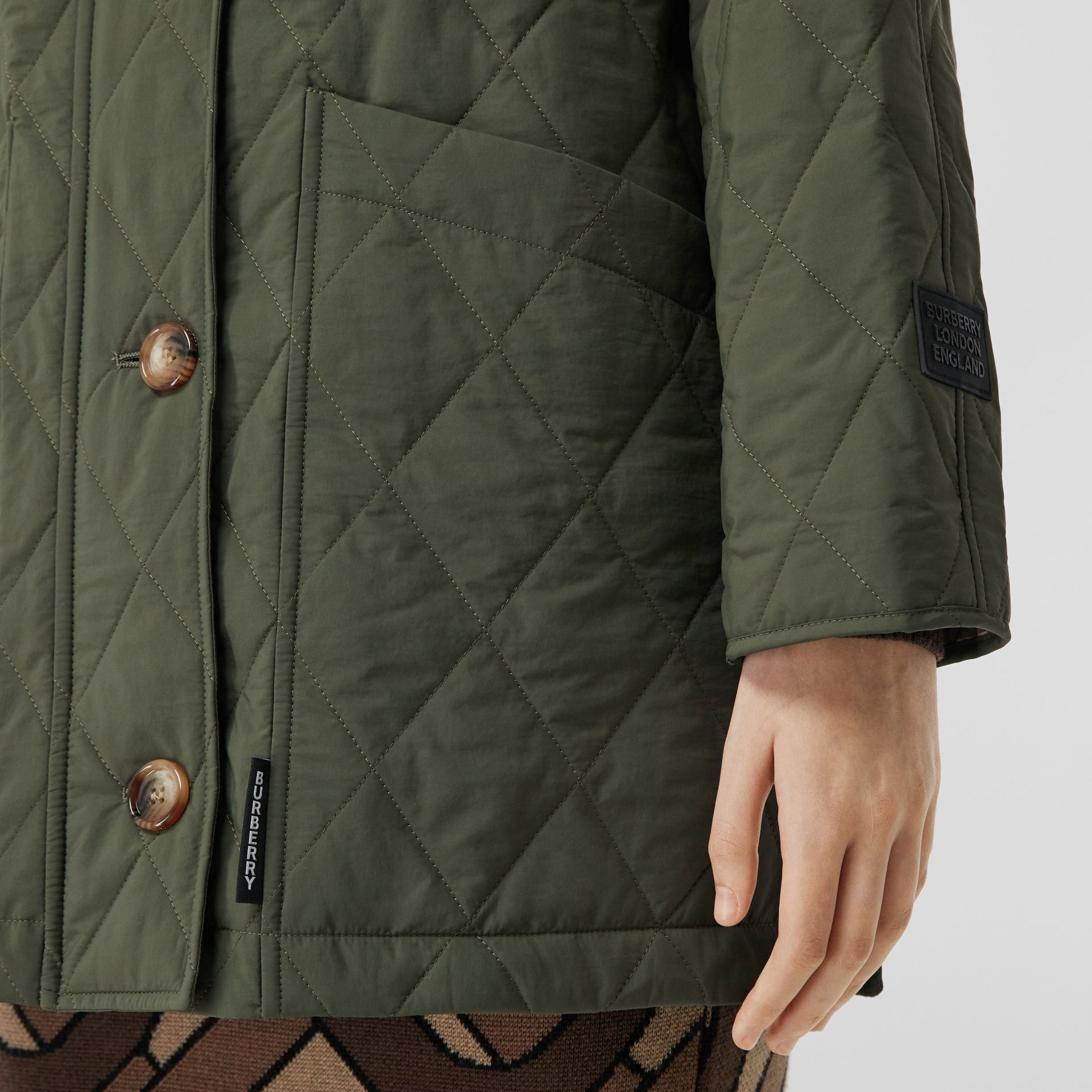 Diamond Quilted Thermoregulated Hooded Coat in Poplar Green - Women | Burberry - gallery image 5