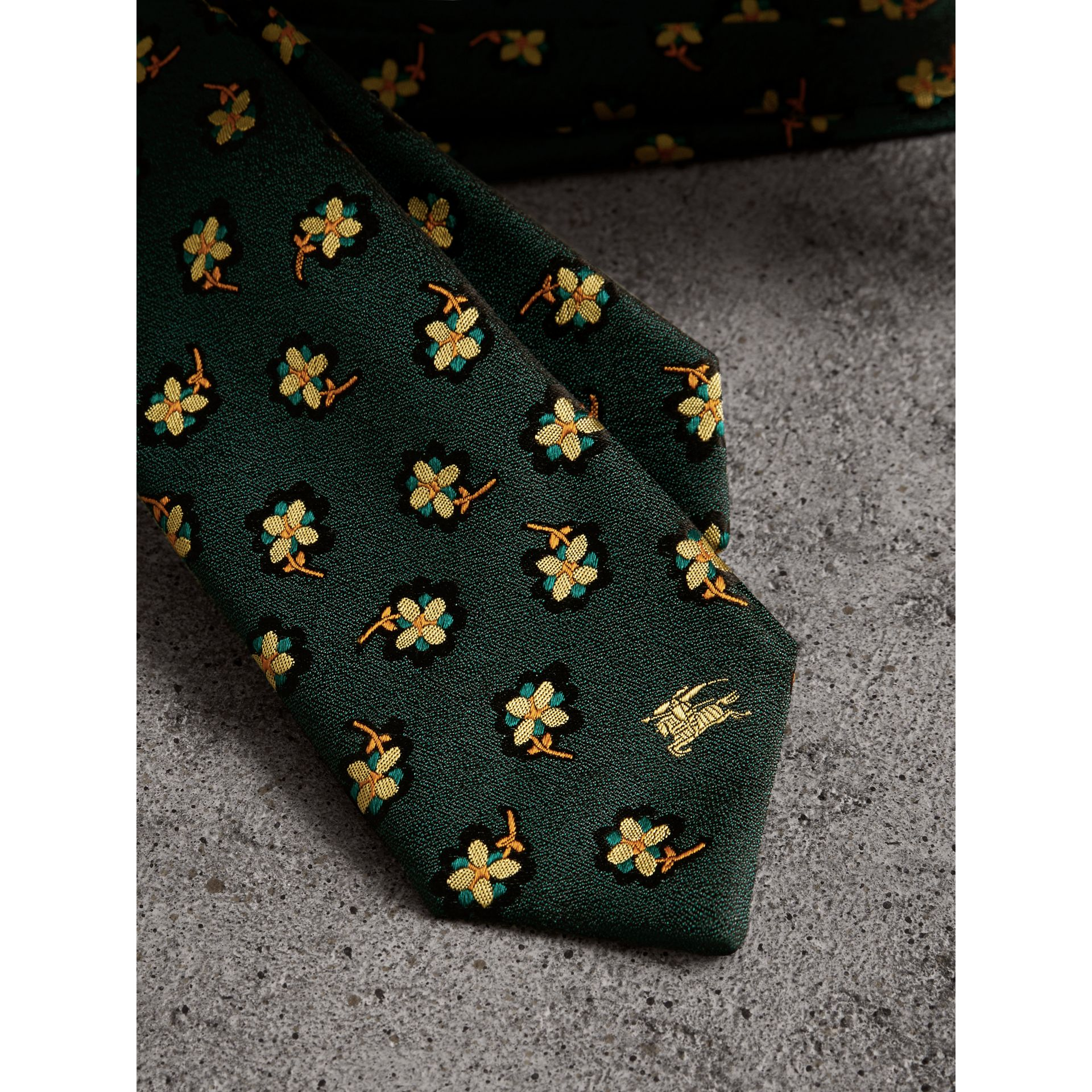 Slim Cut Floral Silk Brocade Tie in Pine Green - Men | Burberry United Kingdom - gallery image 1