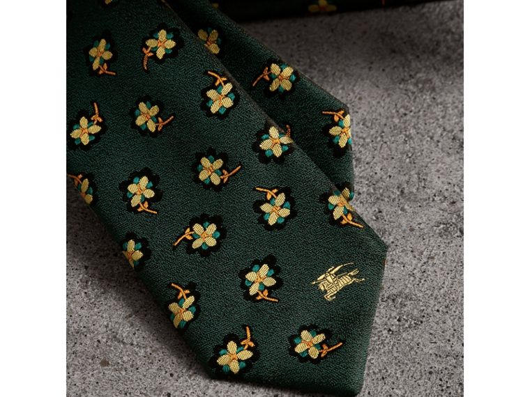Slim Cut Floral Silk Brocade Tie in Pine Green - Men | Burberry - cell image 1