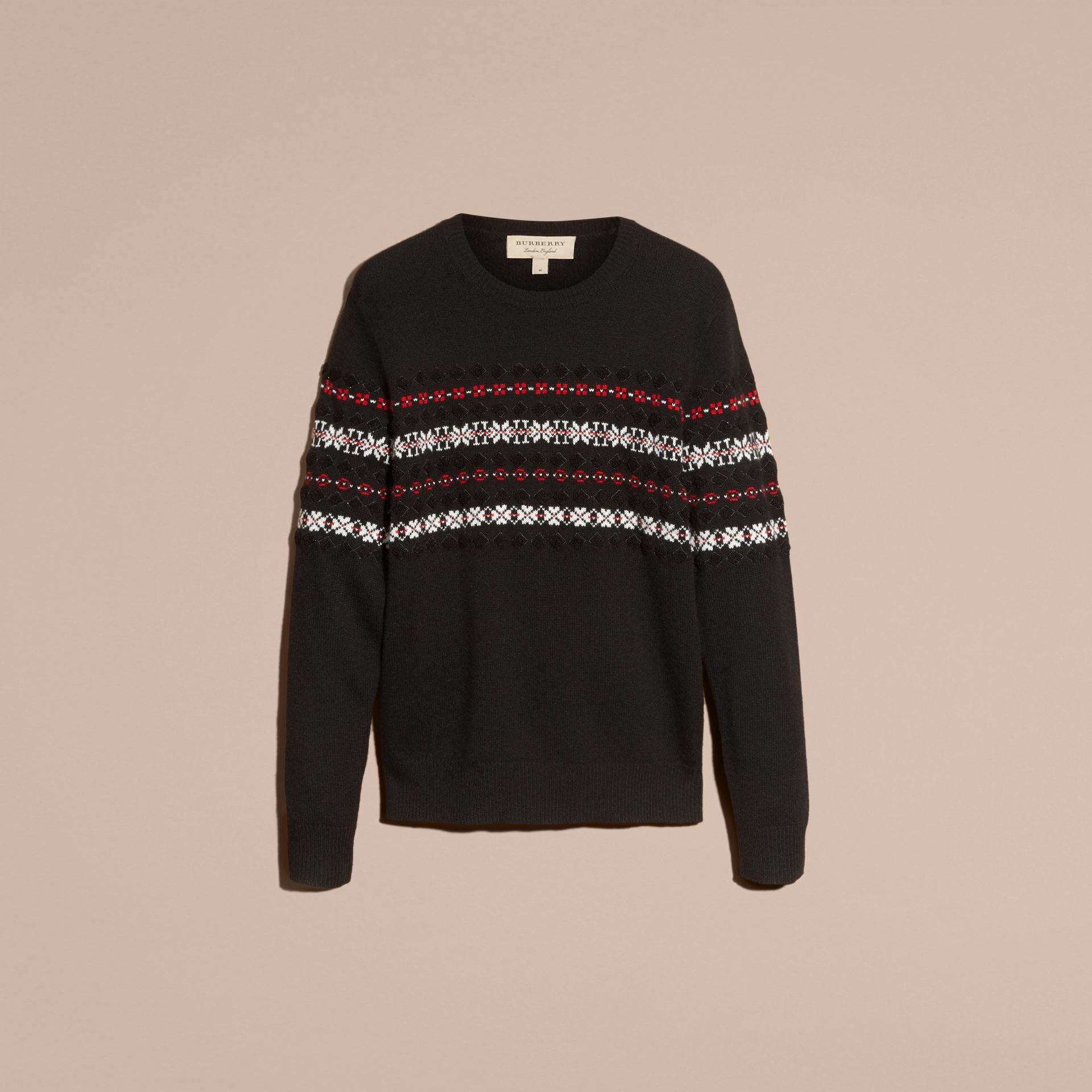 Black Fair Isle Knit Cashmere Wool Sweater - gallery image 4