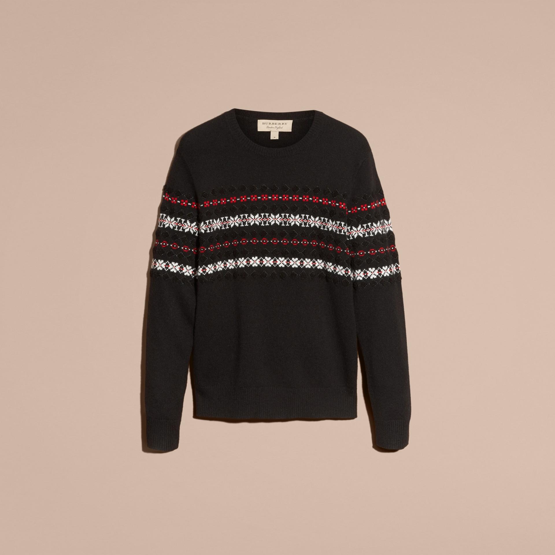 Preto Suéter de lã e cashmere com estampa Fair Isle - galeria de imagens 4