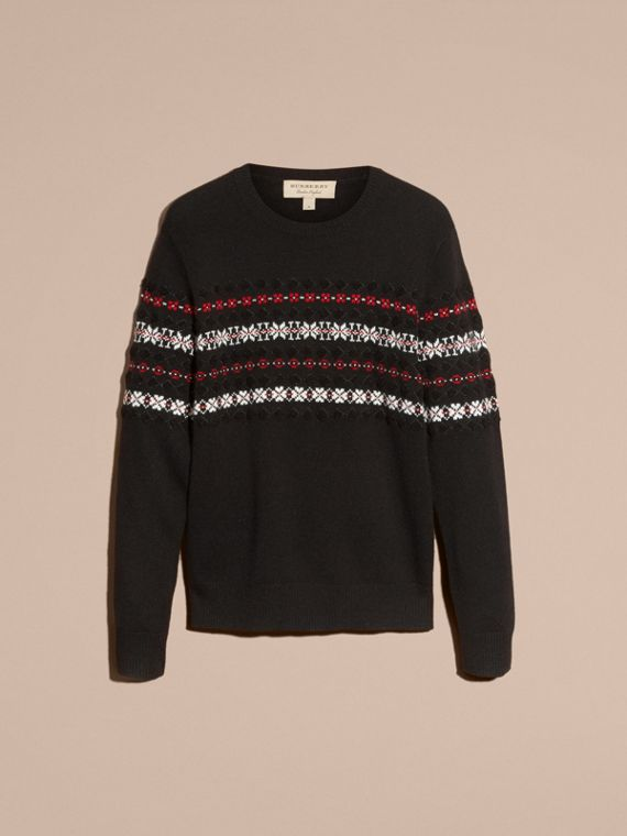 Black Fair Isle Knit Cashmere Wool Sweater - cell image 3