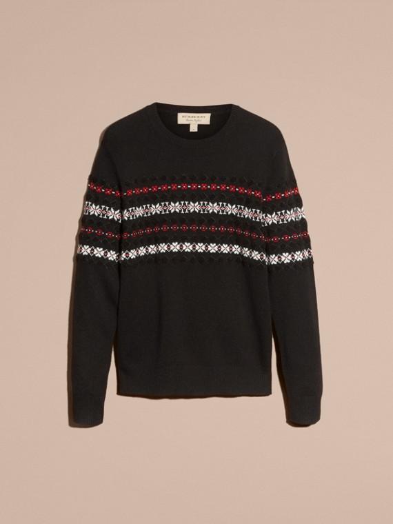 Preto Suéter de lã e cashmere com estampa Fair Isle - cell image 3