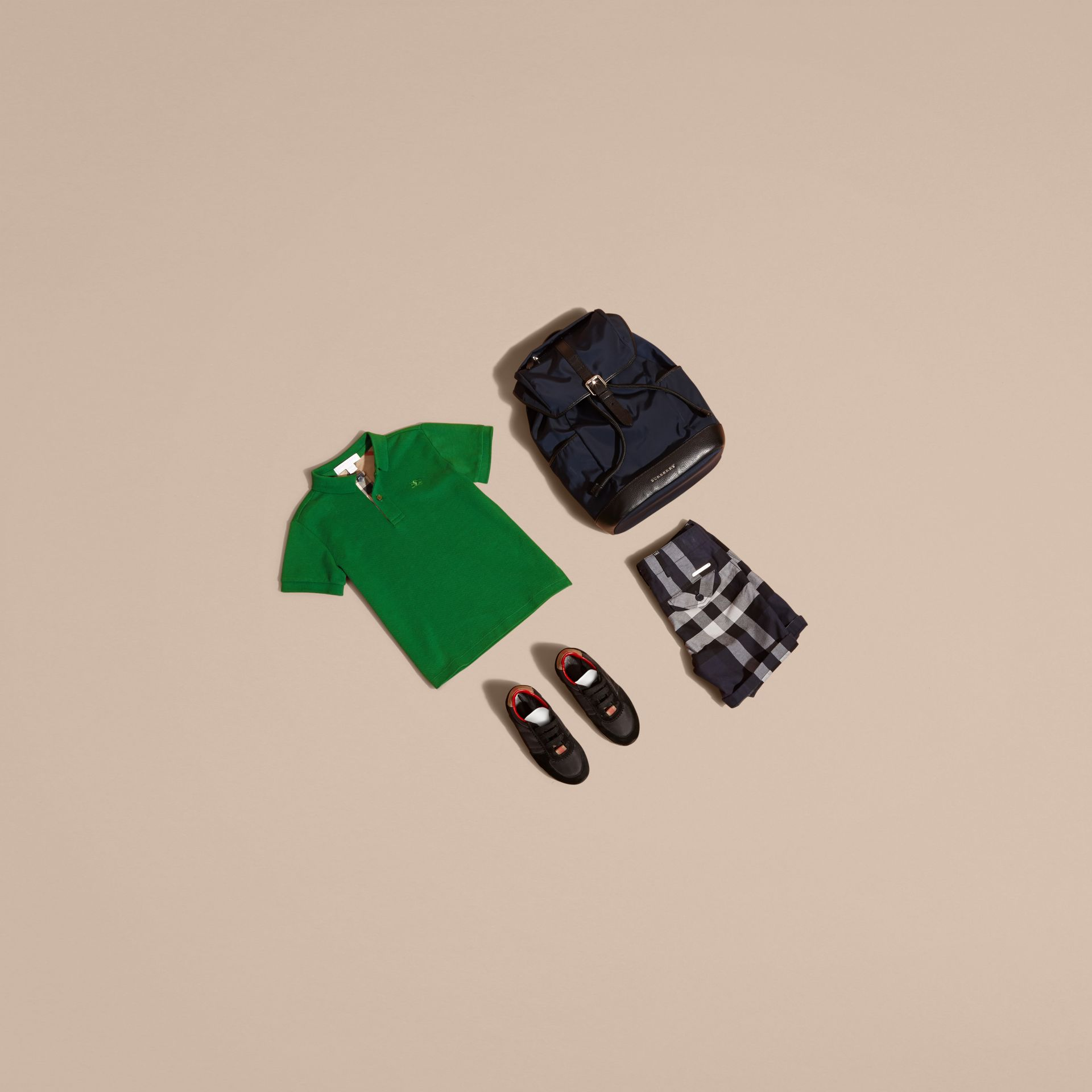 Check Placket Polo Shirt in Bright Pigment Green - gallery image 5