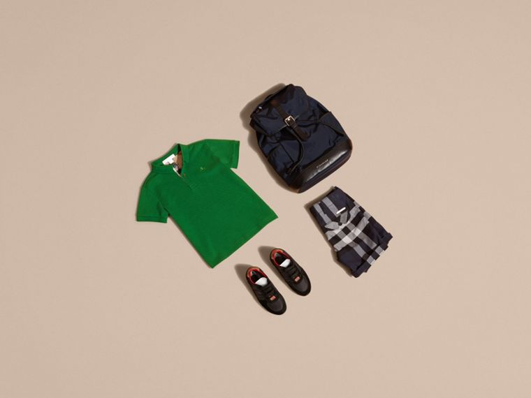 Check Placket Polo Shirt in Bright Pigment Green - cell image 4