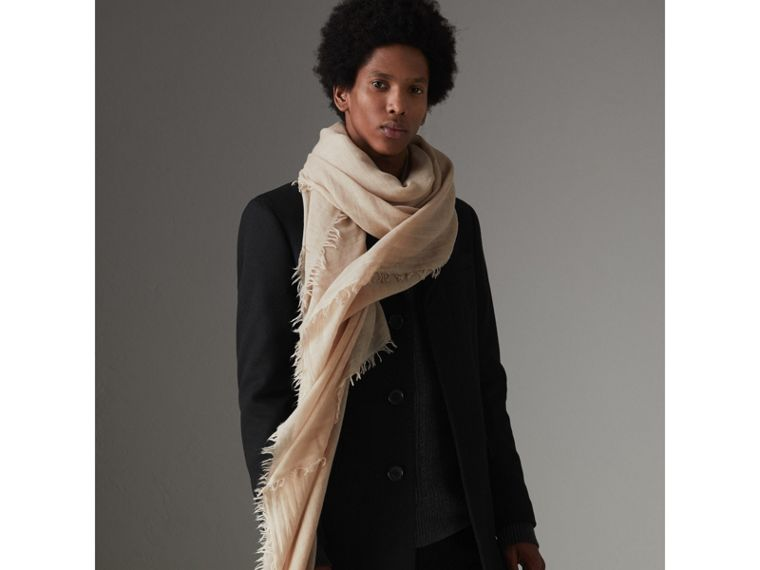 Embroidered Cashmere Cotton Scarf in Stone | Burberry Australia - cell image 4
