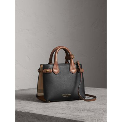 The Baby Banner in Leather and House Check in Black/tan - Women   Burberry
