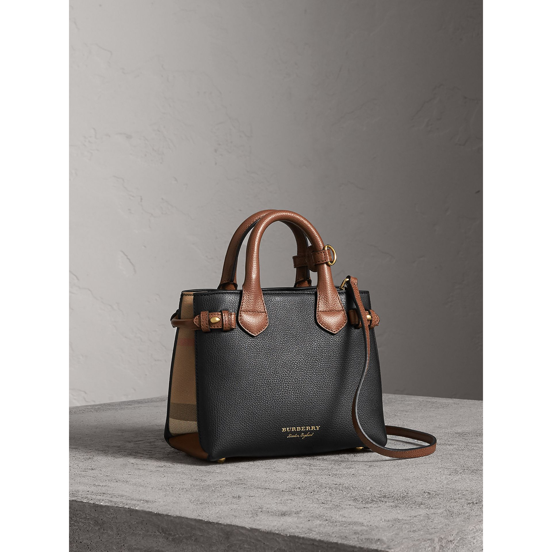The Baby Banner in Leather and House Check in Black/tan - Women | Burberry United States - gallery image 1