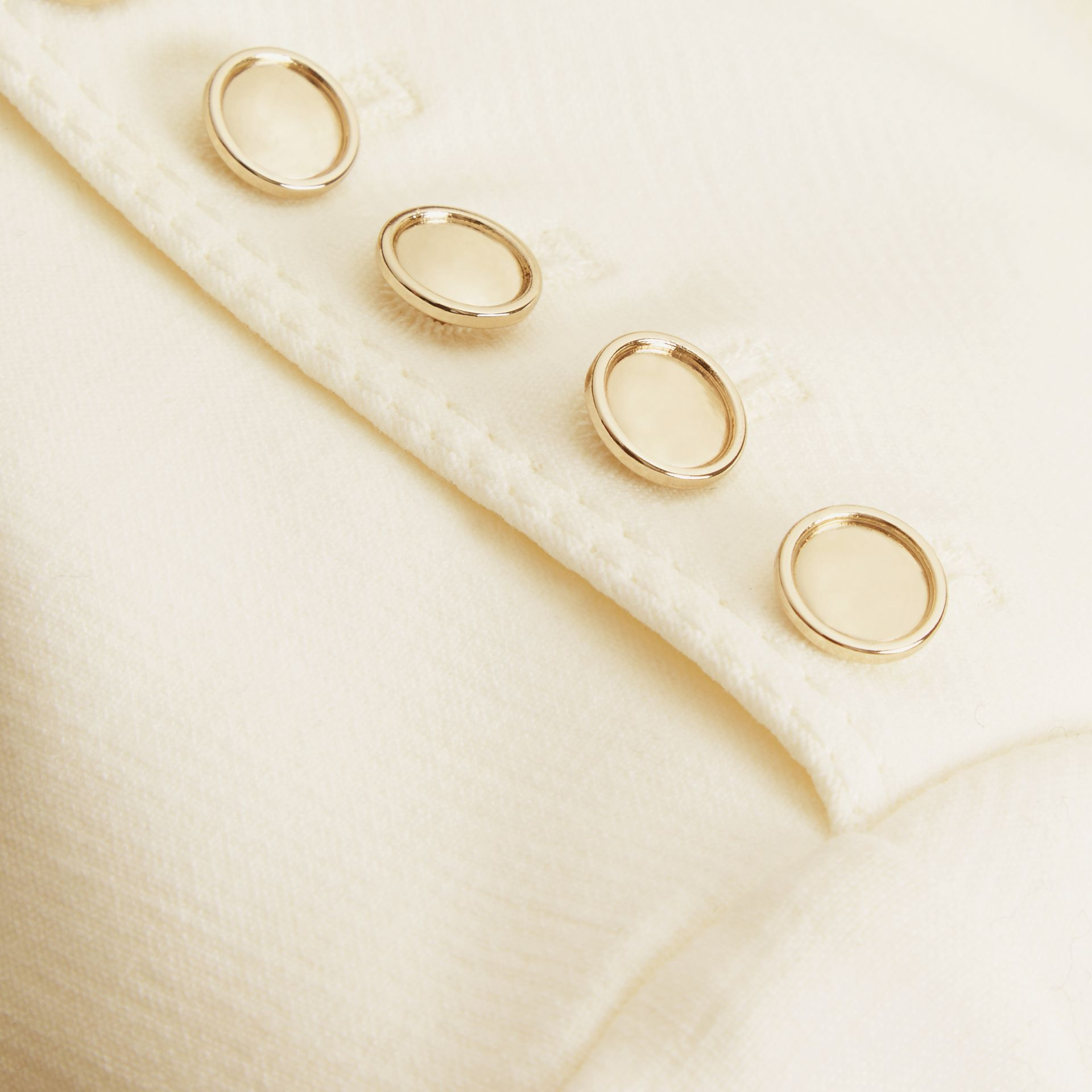 White Button Detail Wool Blend Crepe Dress - gallery image 2