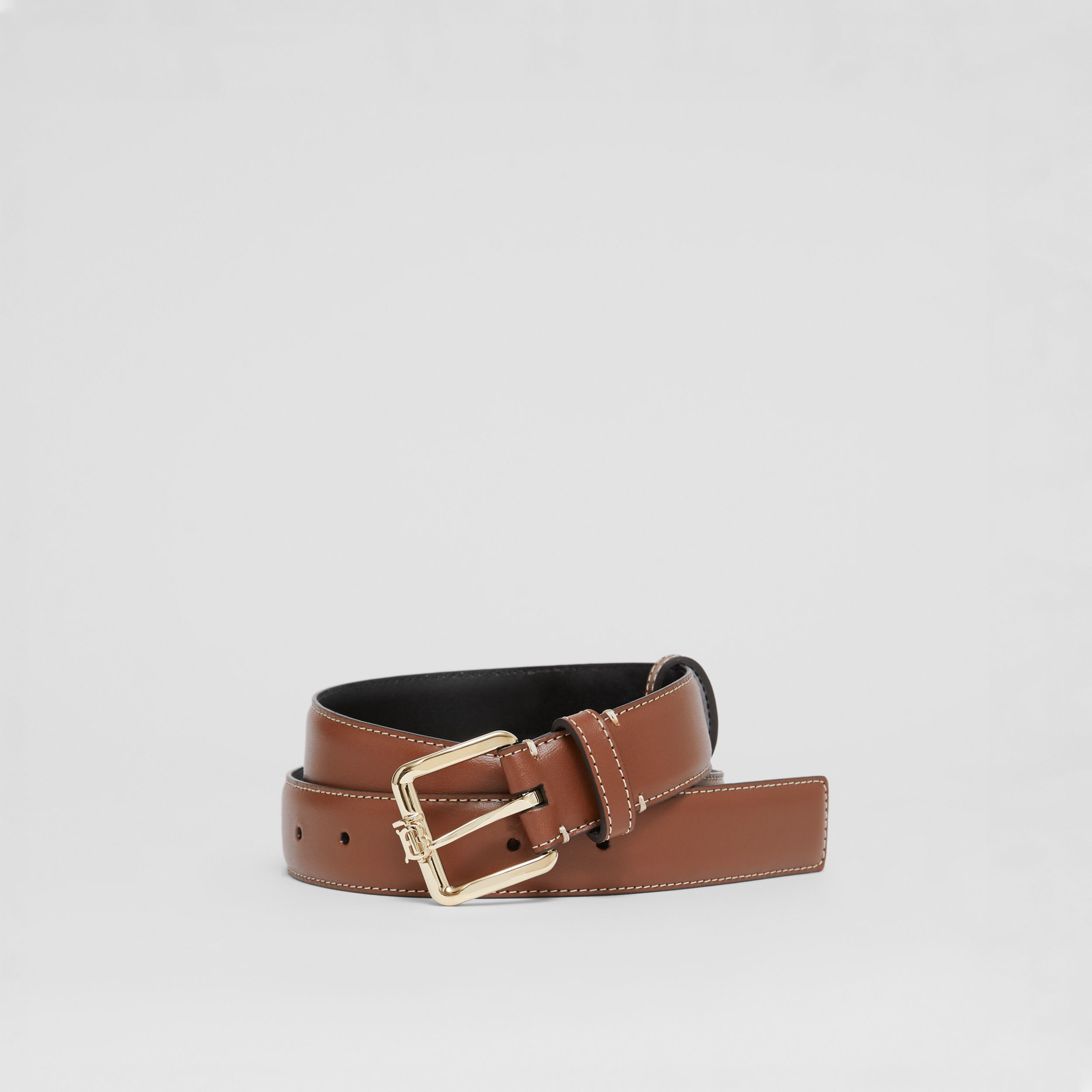 Monogram Motif Topstitched Leather Belt in Tan/light Gold - Women | Burberry United Kingdom - 1