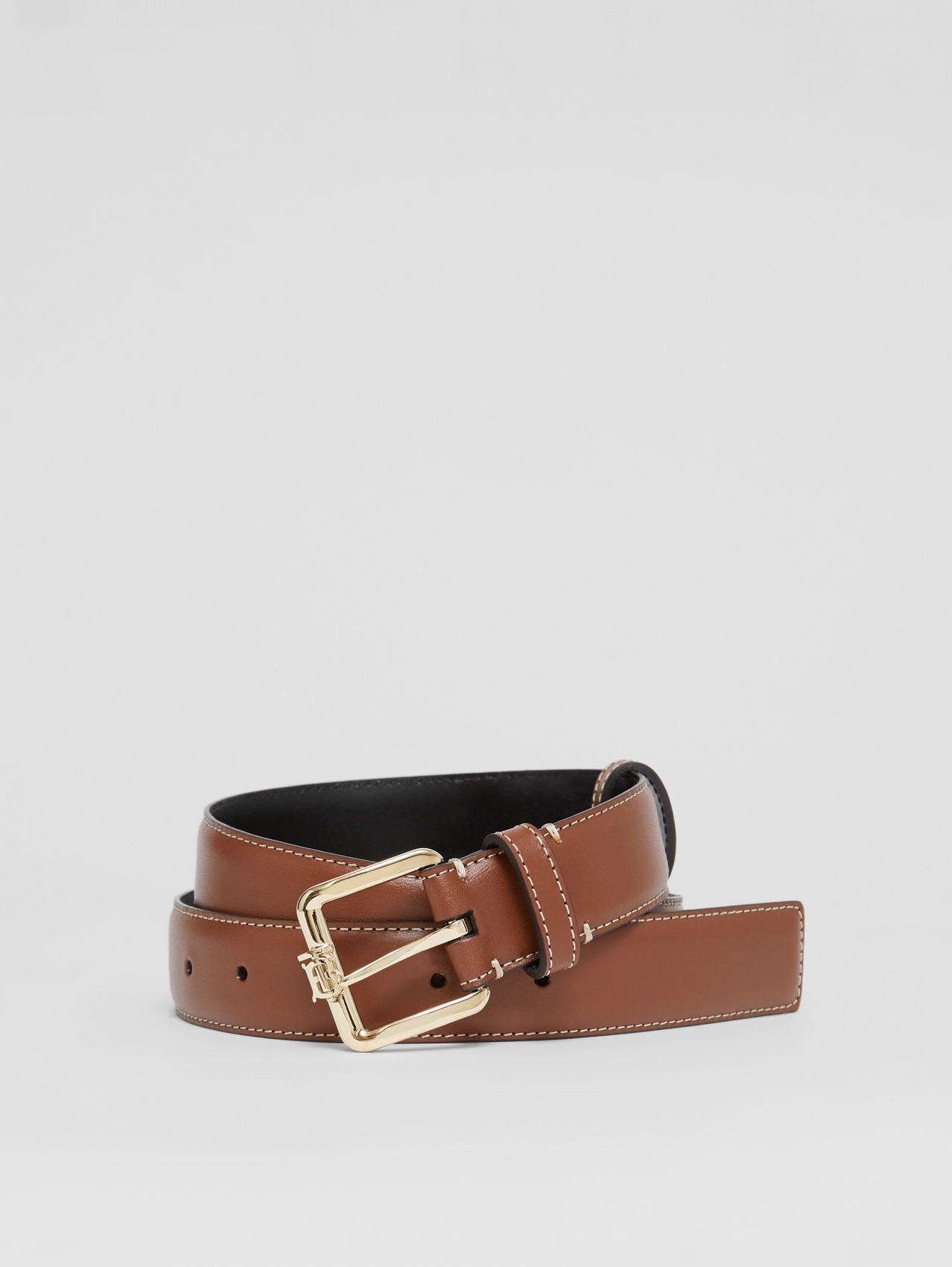 Monogram Motif Topstitched Leather Belt in Tan/light Gold