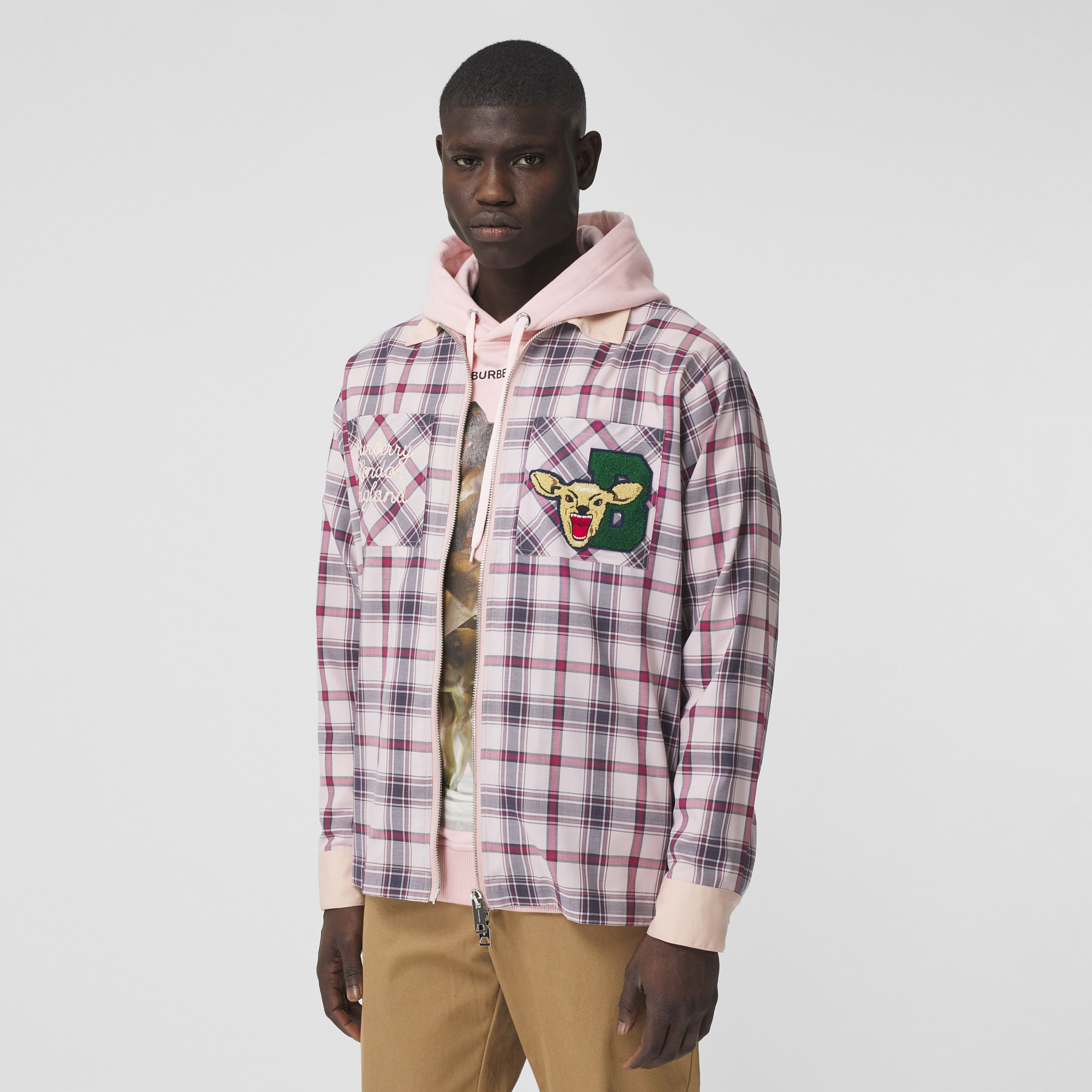 Varsity Graphic Check Technical Cotton Overshirt in Frosted Pink - Men | Burberry Hong Kong S.A.R. - 1