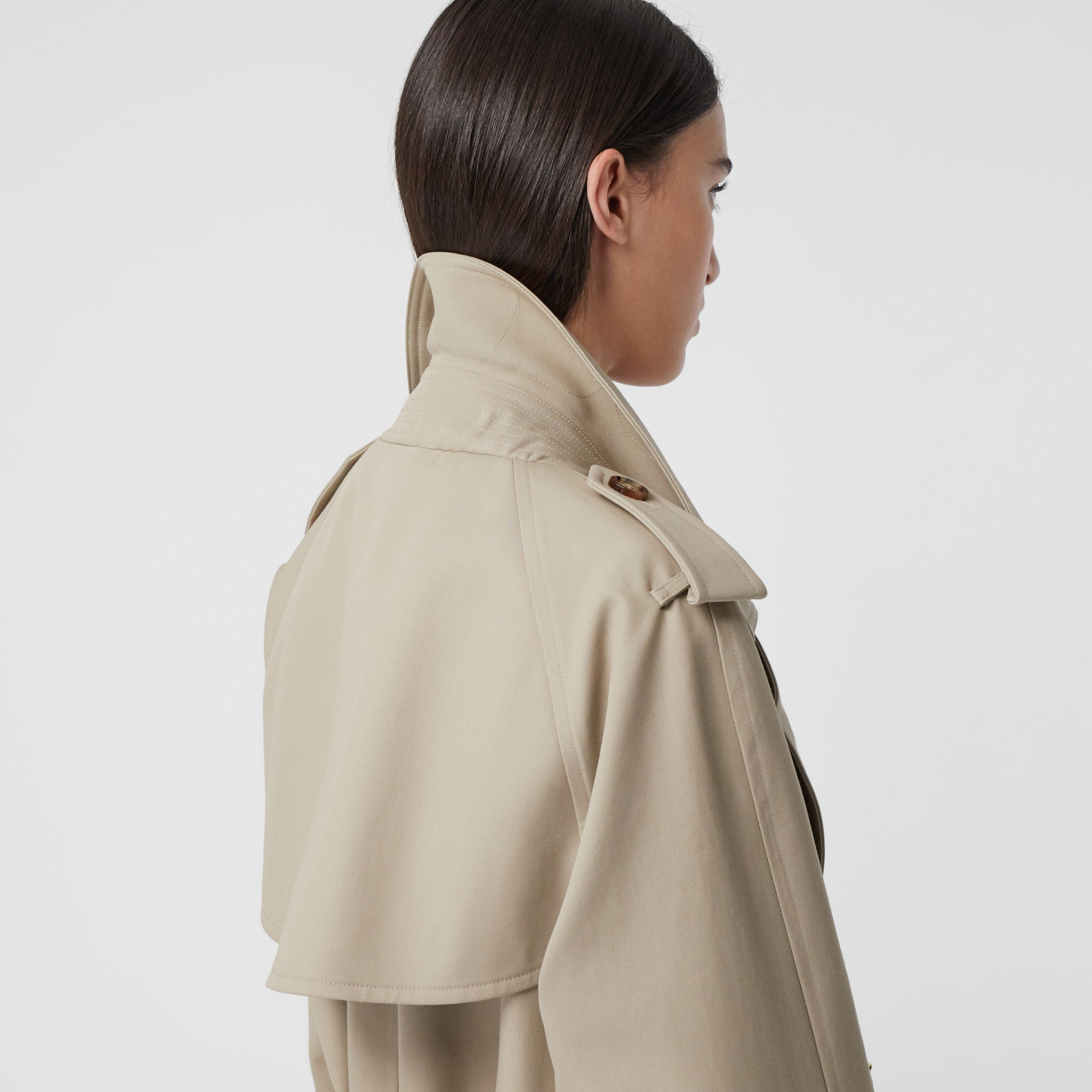Cotton Gabardine Tielocken Coat in Stone - Women | Burberry - 4