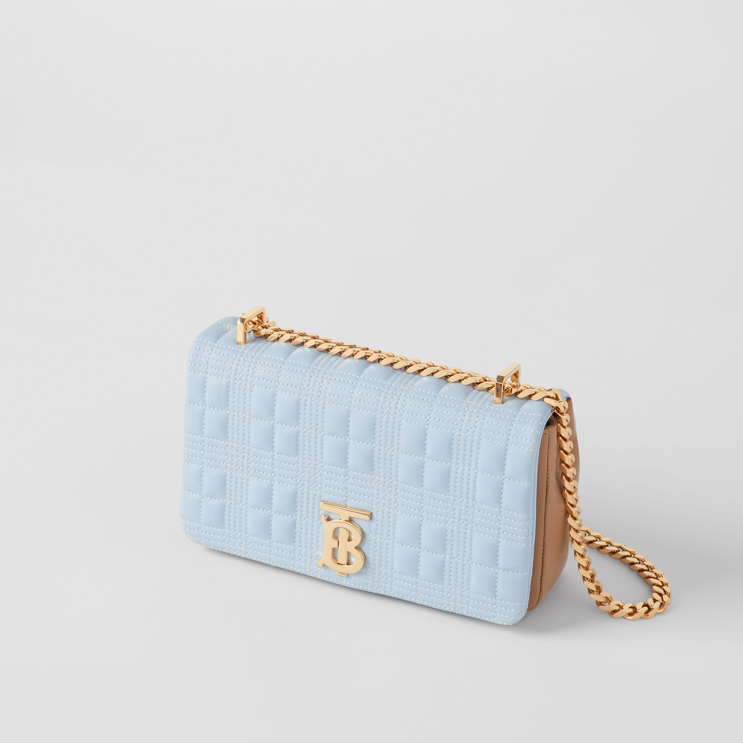Small Quilted Tri-tone Lambskin Lola Bag in Pale Blue/camel/black - Women | Burberry United Kingdom - 4