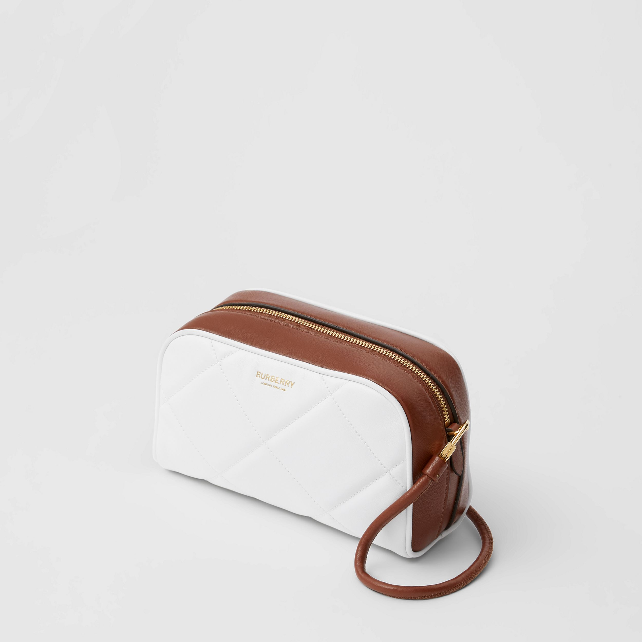 Two-tone Lambskin Half Cube Crossbody Bag in White/tan - Women | Burberry - 4