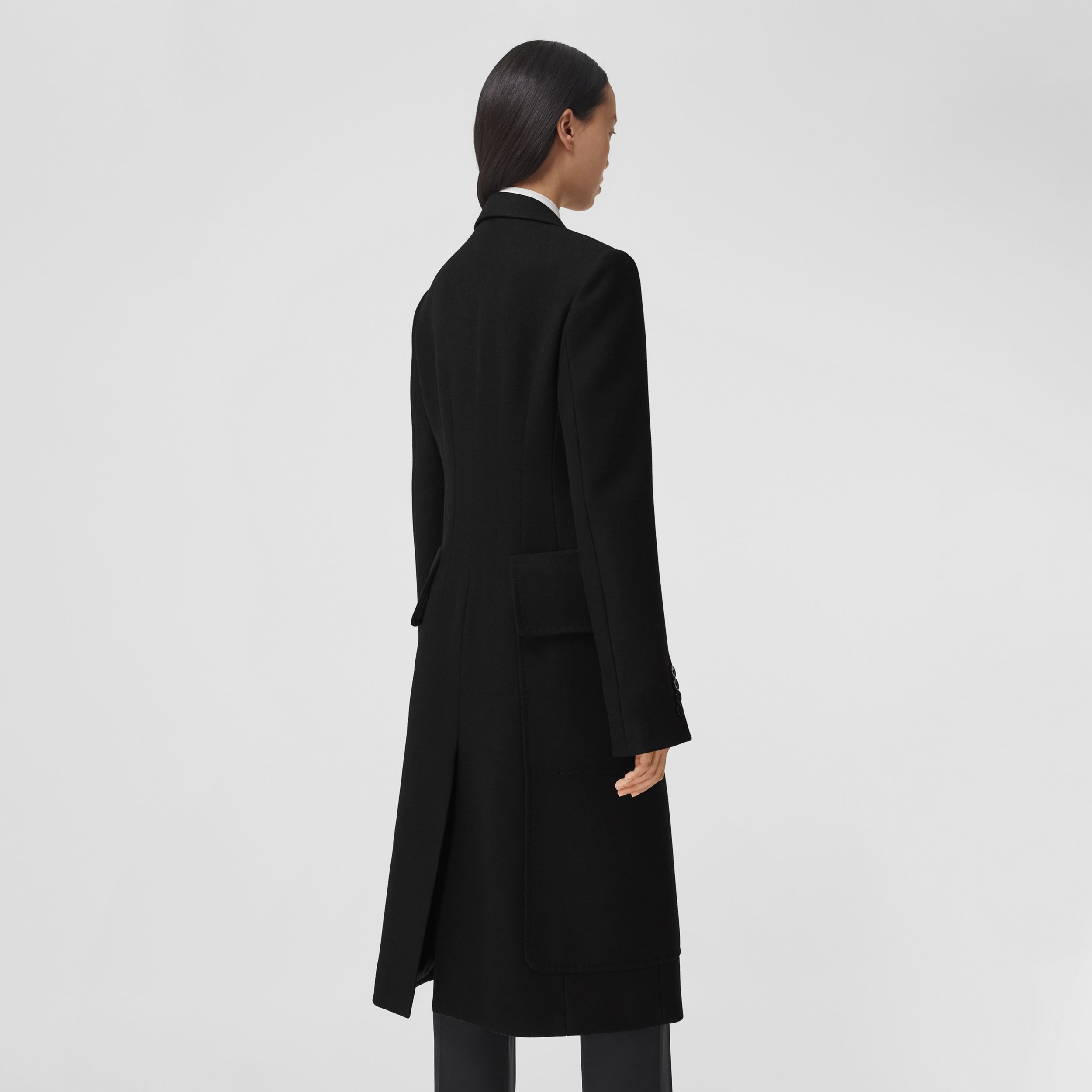 Camel Hair Wool Tailored Coat in Black - Women | Burberry - 3