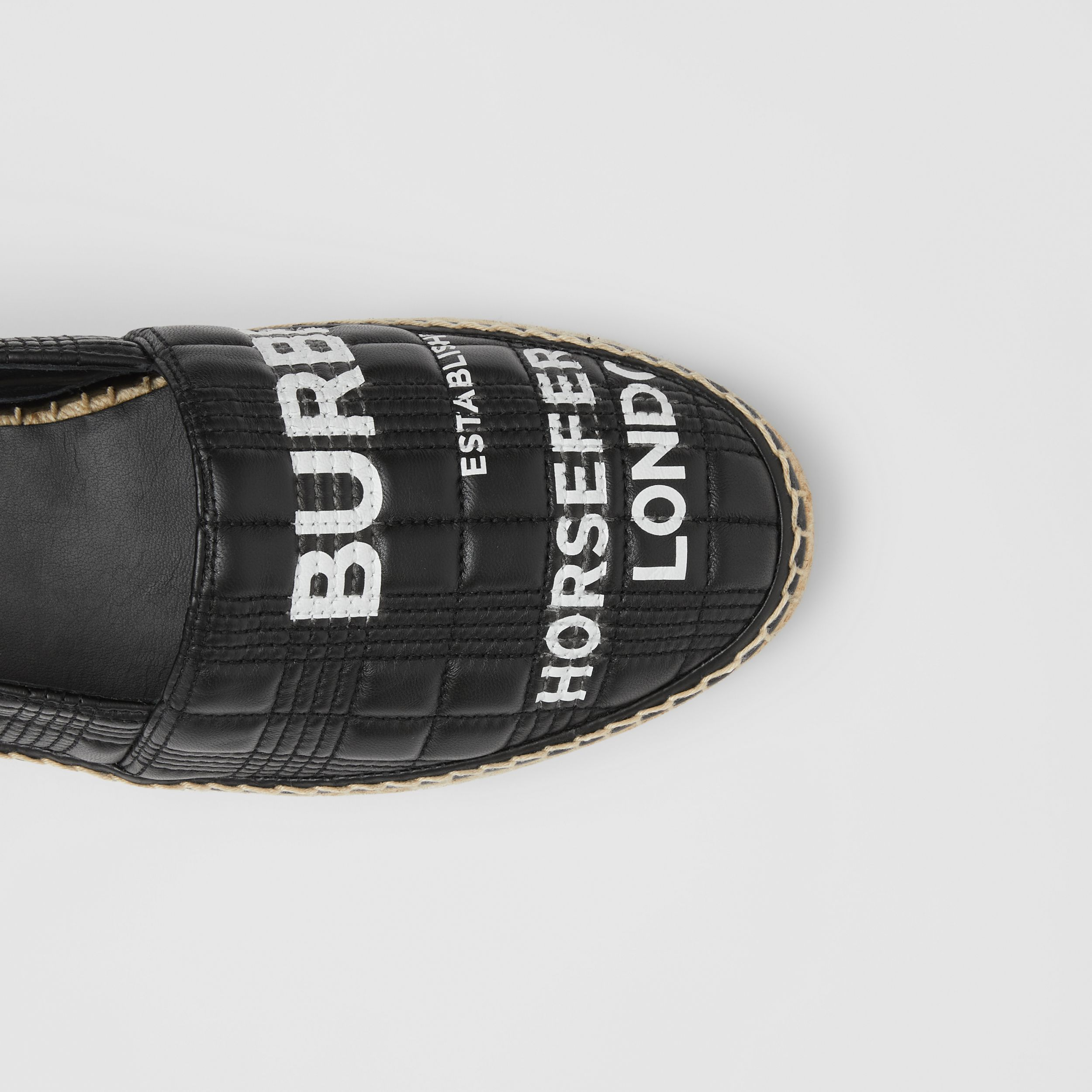 Horseferry Print Quilted Leather Espadrilles in Black - Men | Burberry Australia - 2