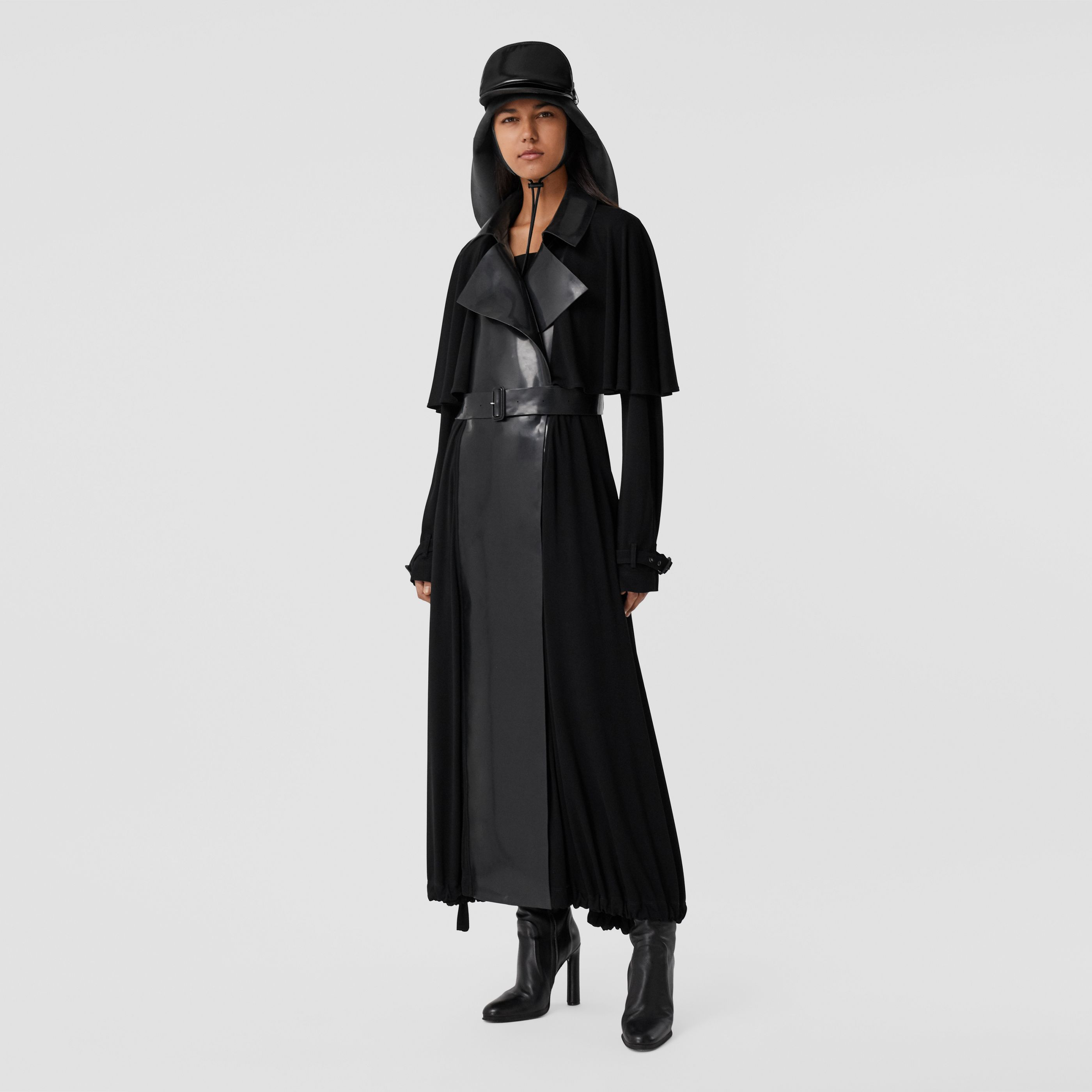 Trench coat in jersey con inserti gommati (Nero) - Donna | Burberry - 8