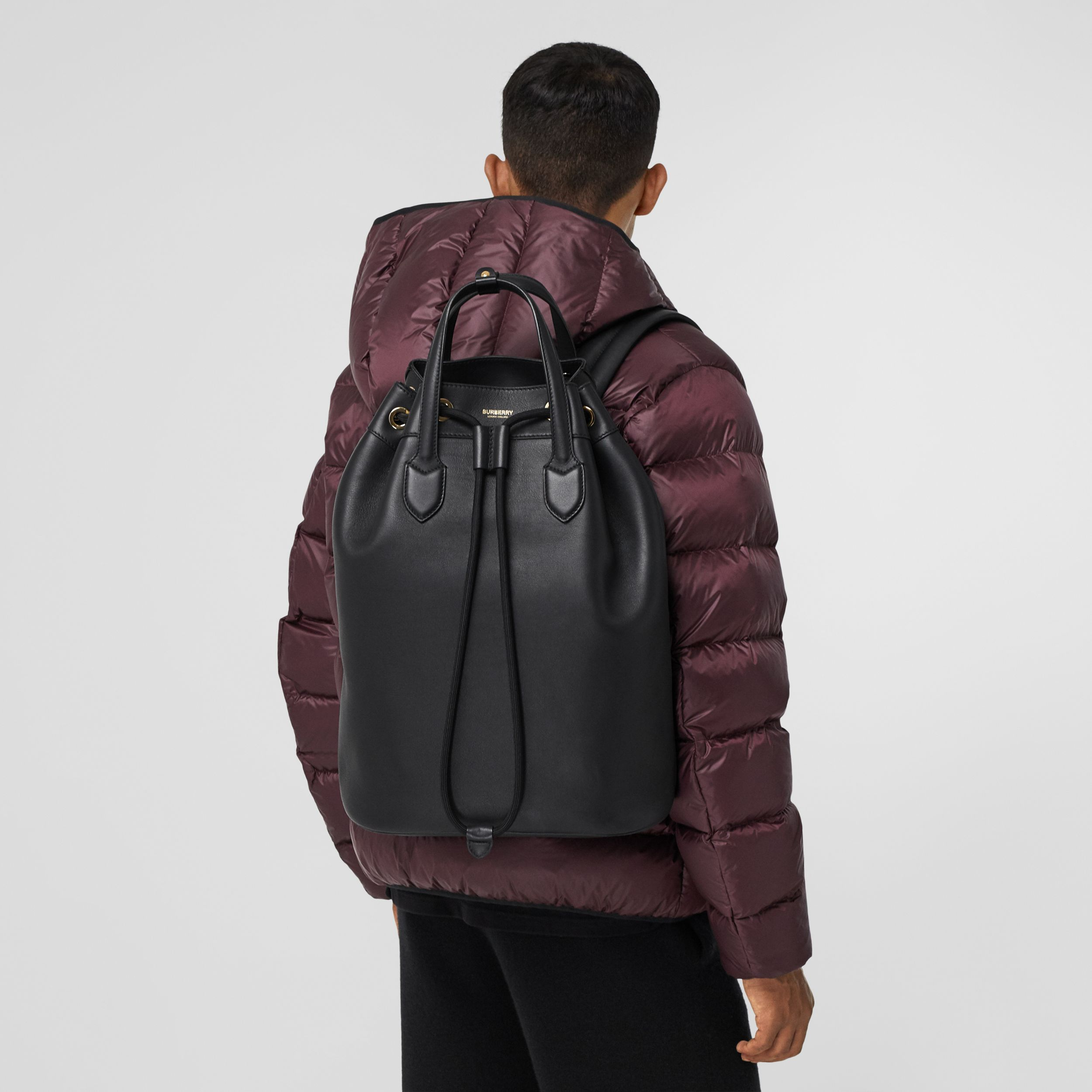 Leather Drawcord Backpack in Black | Burberry Canada - 4