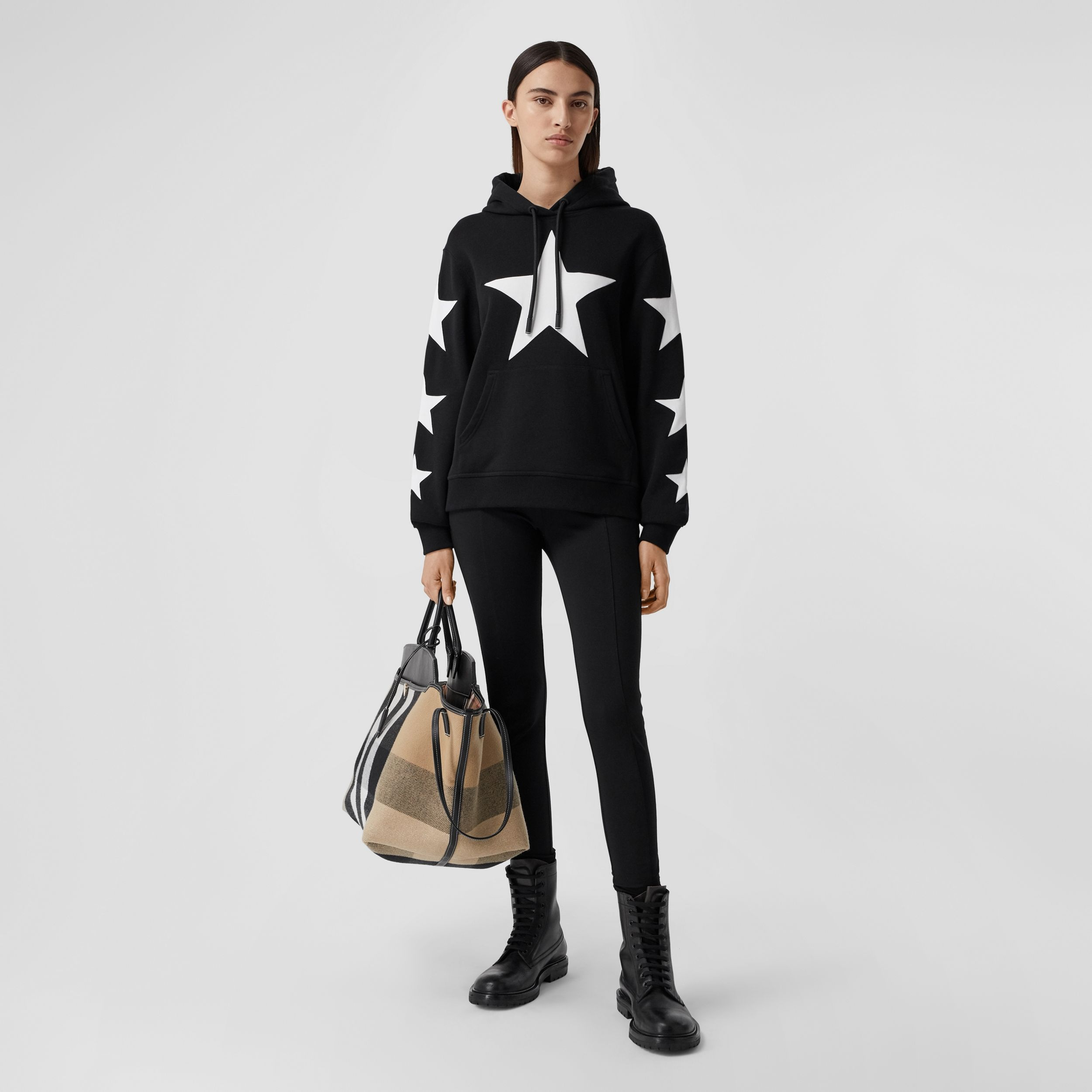 Star Motif Cotton Oversized Hoodie in Black - Women | Burberry Australia - 1