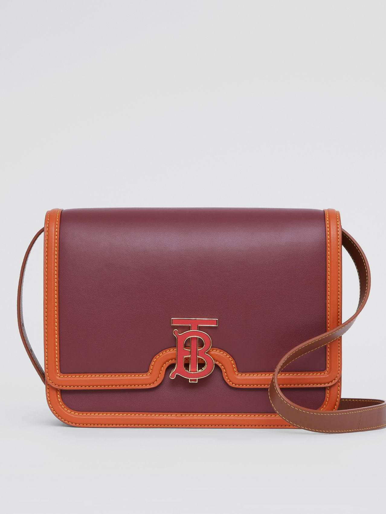 Medium Colour Block Leather TB Bag in Garnet