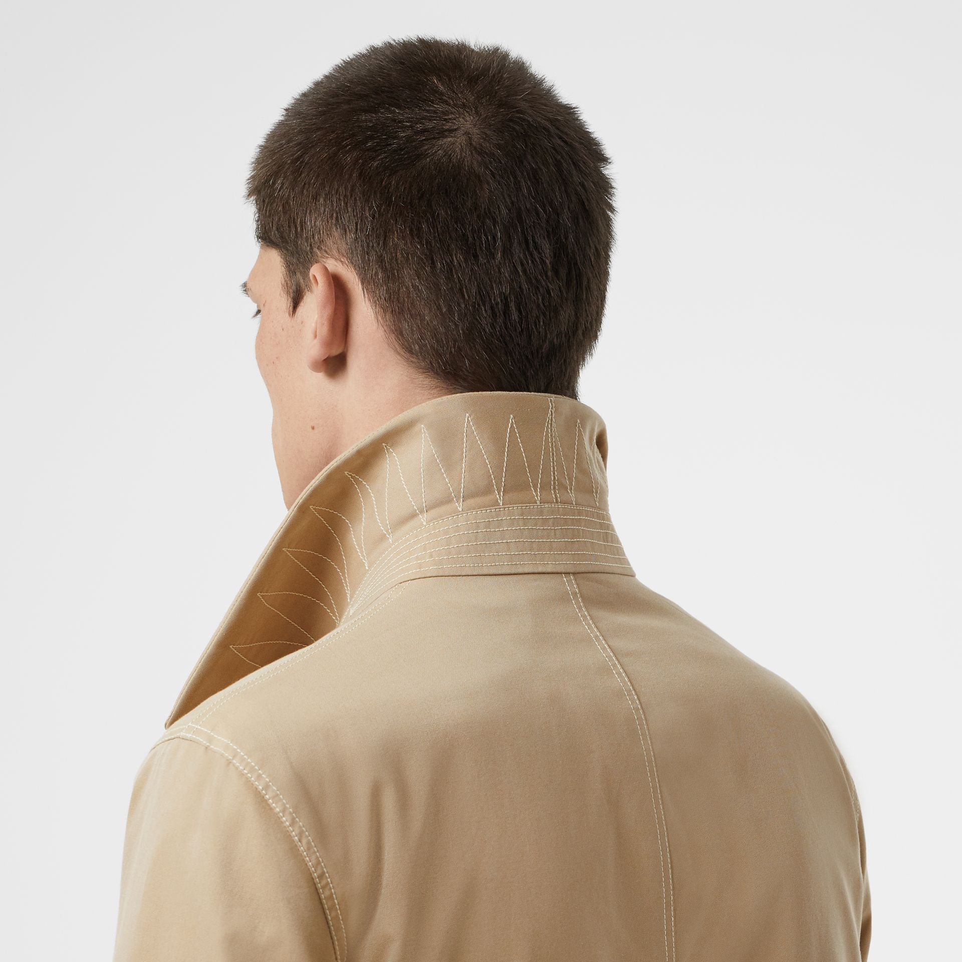 Linen Collar Button Panel Cotton Car Coat in Honey | Burberry Australia - gallery image 5